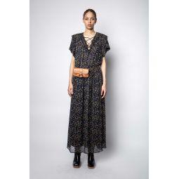 Rainy Crinkle Print Etoiles Dress