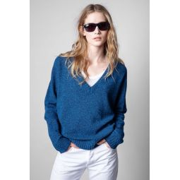 Rosy V Neck Cashmere Sweater