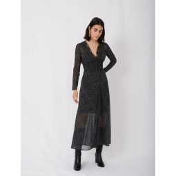 Flocked velvet polka dot jacquard dress