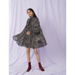 Printed jacquard dress with ruffles