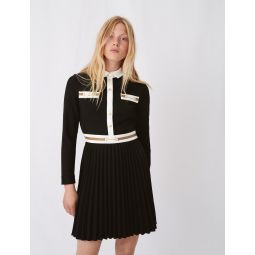 Crepe dress with contrasting details