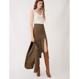 120JUDELA Asymmetric skirt with flaps and checks