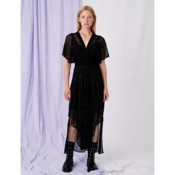 Muslin dress with openwork designs