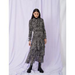 Long silk dress with ruffles
