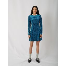 120RANDY Crushed velvet dress with fancy collar