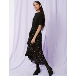 Pleat and polka dot dress