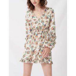 Printed silk dress with ruffles