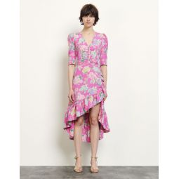 Long asymmetric jacquard dress