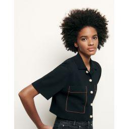 Shirt-style cropped cardigan