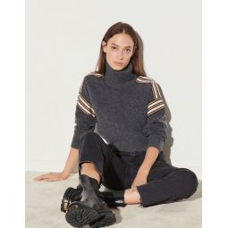 Roll neck sweater with fancy braid trim