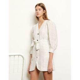 Short dress with fine stripes