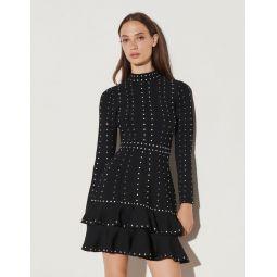 Short knit dress with rhinestones