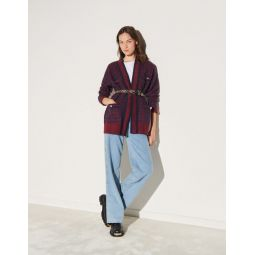 Checked cardigan with sequins
