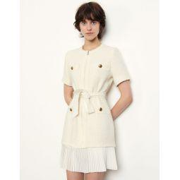 Tweed-effect woollen coat dress
