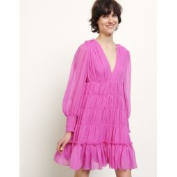 Short voile dress with ruffles