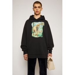 Dinosaur print hooded sweatshirt black