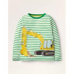 Lift-the-flap Vehicle T-shirt - Ivory/Highland Green Digger