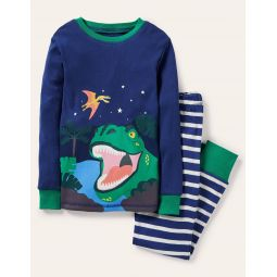 Cosy Long John Pajamas - Starboard Blue Dino Scene