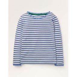 Sparkly Pointelle T-shirt - Seascape Blue/Gold Lurex