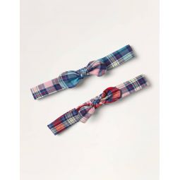 Bow Headbands 2 Pack - Multi Hotchpotch Check