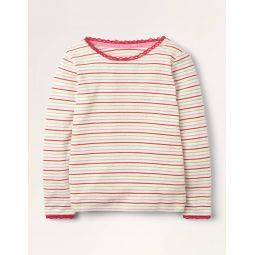 Sparkly Pointelle T-shirt - Multi Pink/ Gold Lurex