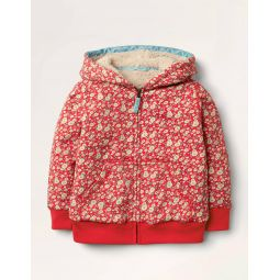 Shaggy-lined Hoodie - Cherry Tomato Vintage Daisy