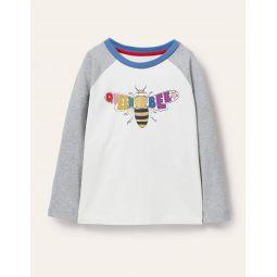 Raglan Logo T-shirt - Ivory/Grey Marl Queen Bee