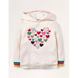 Cosy Sparkle Applique Hoodie - Ivory Hearts