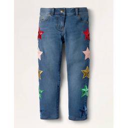 Embellished Sequin Star Jeans - Mid Vintage Denim Sequins