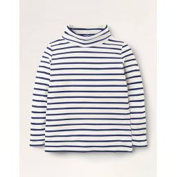 Roll Neck Supersoft T-shirt - Ivory/Starboard Blue