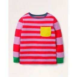 Hotchpotch Stripe T-shirt - Hot Pepper Red/Lupin Purple
