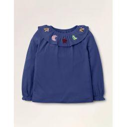 Sequin Ruffle Neck Top - Starboard Blue Stars