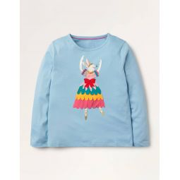 Ballerina Applique T-shirt - Frost Blue Rabbit