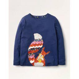 Animal Applique T-shirt - Starboard Blue Squirrel