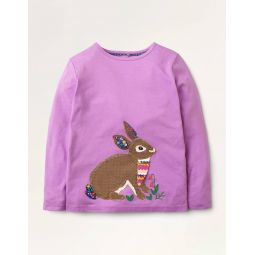 Animal Applique T-shirt - Lupin Purple Bunny