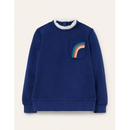 Cosy Broderie Sweatshirt - Starboard Blue Rainbow
