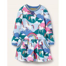 Cosy Printed Sweatshirt Dress - Multi Unicorn Mountains