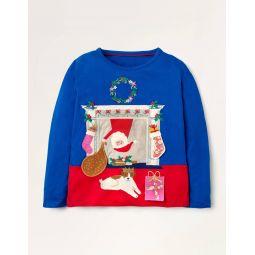 Festive Lift the Flap T-shirt - Blue Father Christmas