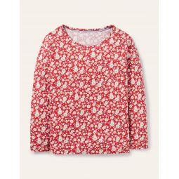 Fun Print Jersey T-Shirt - Cherry Tomato Vintage Daisy