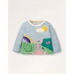 Peekaboo Flap T-shirt - Ivory/Elizabethan Blue Bunny