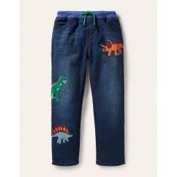 Pull-on Denim Pants - Mid Vintage Dinos