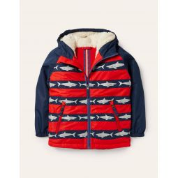 Cosy Sherpa-lined Anorak - College Navy/Rockabilly Red