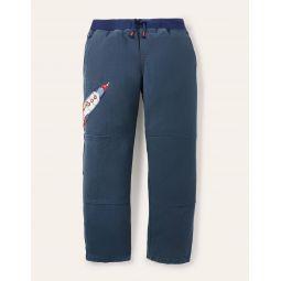 Rib Waist Applique Pants - Robot Blue Rocket