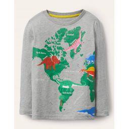 Fun Facts T-shirt - Grey Marl Dino Map