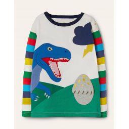 Fun Dinosaur T-shirt - Ivory Rainbow Dino