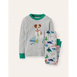 Applique Long John Pajamas - Grey Marl Playful Pets