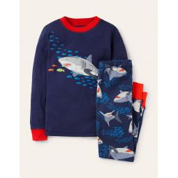 Applique Long John Pajamas - College Navy Feeding Sharks
