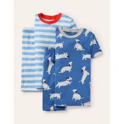 Cosy Twin Pack Short Pajamas - Venice Blue Sausage Dogs
