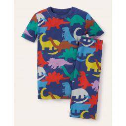 Cosy Twin Pack Short Pajamas - College Navy Rainbow Dinos
