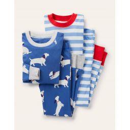 Cosy Twin Pack Long Pajamas - Venice Blue Sausage Dogs